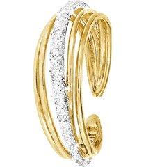 anello in ottone dorato e glitter per donna
