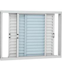 janela veneziana de correr sem grade aço - 3 folhas móveis - branco kompacta 100x150x11,3cm - 21324515 - sasazaki - sasazaki