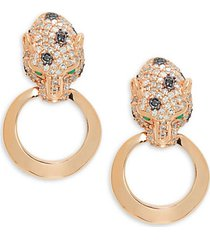 14k rose gold, 0.91 tcw black & white diamond & emerald hoop drop earrings