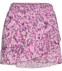 flores crinkle mini skirt kort kjol rosa french connection