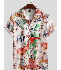 incerun hombres moda impreso manga corta casual hawaiano playa camisa