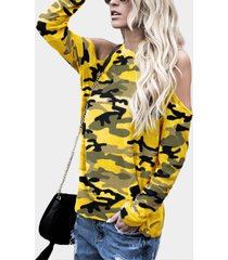 yellow camouflage round neck cold shoulder long sleeves t-shirt