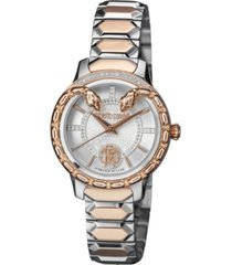 roberto cavalli by franck muller women's diamond swiss quartz two-tone rose gold stainless steel bracelet watch, 34mm