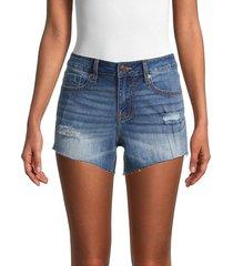 vigoss women's marley mid-rise denim shorts - medium wash - size 29 (6-8)