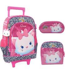 kit mochila com rodinhas luxcel marie com lancheira e estojo - rosa - menina - dafiti