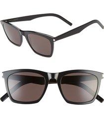 saint laurent slim 52mm square sunglasses - shiny black
