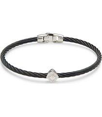 alor women's 18k white gold, stainless steel, & diamond bracelet