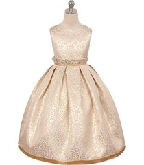 champagne jacquard full flower girl dress bridesmaid birthday wedding party prom
