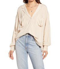 women's free people erin's jacquard oversize button front top, size large - white