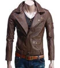 handmade new men stylish fine stitching brown leather jacket, men leather jacket