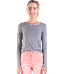 blusa básica manga longa feminina - feminino