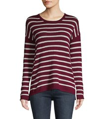 amicale women's striped cashmere sweater - ivory black - size l