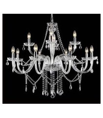 lustre candelabro de cristal maria tereza - 12 braços transparente
