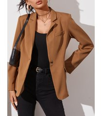 yoins botón marrón diseño blazer de manga larga con cuello solapa