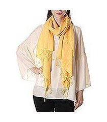 wool and silk blend shawl, 'yellow fanfare' (india)