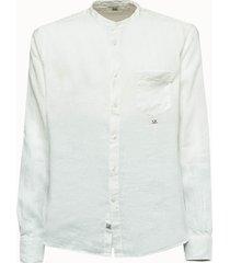 c.p company camicia in lino bianca