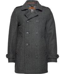 new bridge coat wollen jas lange jas grijs superdry