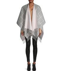 windowpane check merino wool cape