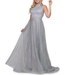 mac duggal women's lattice a-line gown - silver - size 4