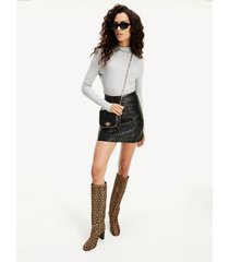 tommy hilfiger women's cube monogram leather mini skirt black - 12