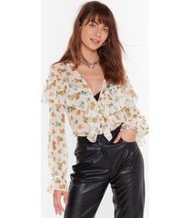 womens downhill from sheer floral ruffle blouse - white