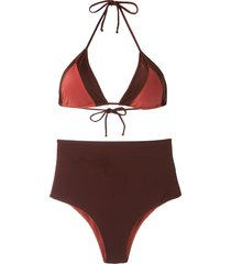 brigitte hot pants bikini set - brown
