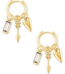 kendra scott 14k gold-plated 4-pc. set interchangeable charm huggie hoop earrings