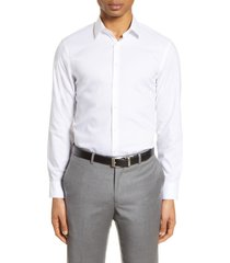 men's nordstrom extra trim fit non-iron solid stretch dress shirt, size 17.5 - white