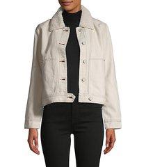 faux fur-trim cotton & linen-blend jacket