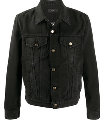 alanui bandana intarsia denim jacket - black