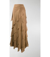 max mara asymmetric ruffled maxi skirt