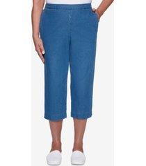alfred dunner women's missy classics washed denim capri pants