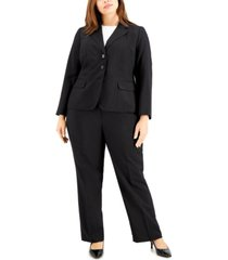 le suit plus size glazed melange three-button pantsuit