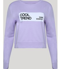 """blusão de moletom felpado feminino cropped """"cool trend"""" lilás"""