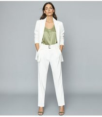 reiss mia - belted straight leg trousers in white, womens, size 14