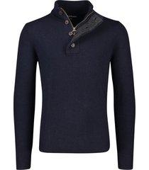 barbour trui donkerblauw knopen in kraag