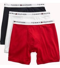 tommy hilfiger men's classic cotton boxer brief 3pk red/white/navy - l