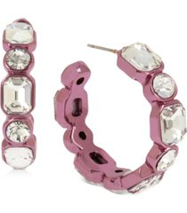 bcbgeneration purple-tone medium crystal hoop earrings, 1.3""
