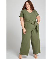 lane bryant women's lena button-front jumpsuit 20p dried sage