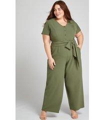 lane bryant women's lena button-front jumpsuit 28p dried sage