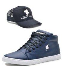 tênis sapatênis casual cano alto com boné polo plus  azul