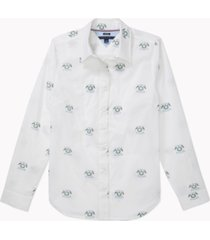 tommy hilfiger adaptive women's granger cotton logo-print magnetic-closure shirt