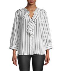 karl lagerfeld paris women's striped ruffled top - soft white - size m