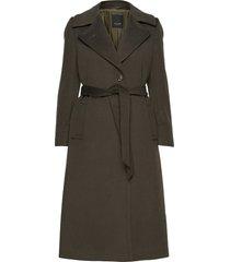 cashmere coat w - clareta belt wollen jas lange jas groen sand