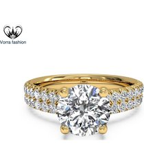 1.60 ct round cut diamond engagement ring 14k yellow gold plated pure 925 silver