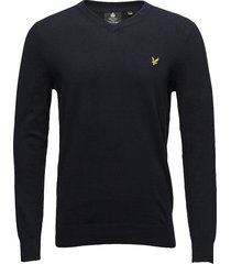 cotton merino v neck jumper gebreide trui v-hals blauw lyle & scott