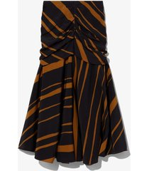 diagonal stripe ruched skirt