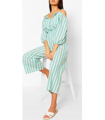 linen stripe button bardot jumpsuit, sage