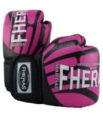 luva boxe muay thai top fheras - 014 oz elite rosa .