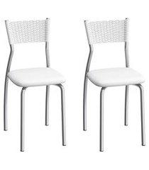 conjunto de cadeiras aço carbono compoarte gênova 2 peças c122 branca